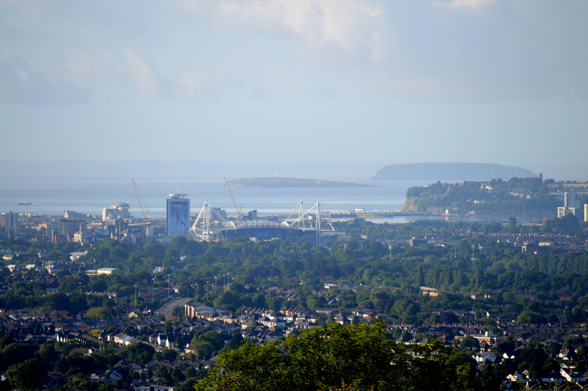 Cardiff, featuring Flatholm, Steepholm, Cardiff Bay and the Millennium Stadium